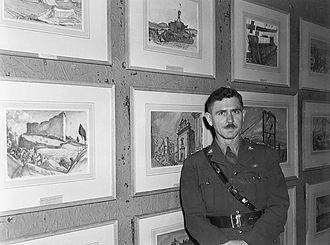 Canadian official war artists - Capt. Will Ogilvie, Official army war artist, with some of his paintings, 9 February 1944