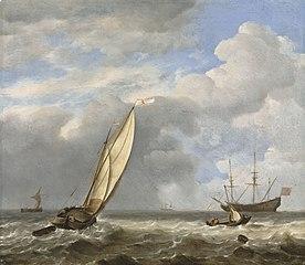 A Dutch kaag in a light breeze