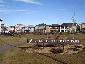 Linear park - William Sarjeant Park, one park in a linear park system found in the Willowgrove neighbourhood of Saskatoon, Saskatchewan, Canada