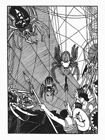 Illustration by Aubrey Beardsley for Lucian's A True Story William Strang spider battle in 1894 True History.jpg