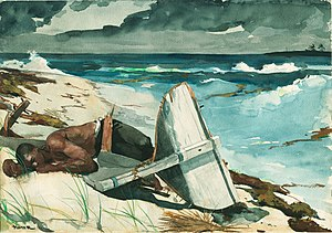 The Gulf Stream (painting) - After the Hurricane, painted by Homer in 1899, depicts a man washed up on a beach after a storm.