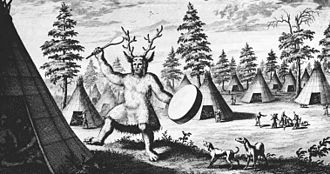 "Shamanism - The earliest known depiction of a Siberian shaman, by the Dutch Nicolaes Witsen, 17th century. Witsen called him a ""priest of the Devil"" and drew clawed feet for the supposed demonic qualities."