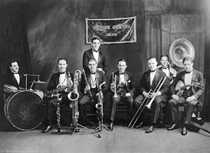1924 in jazz - The Wolverines with Bix Beiderbecke at Doyle's Academy of Music in Cincinnati, Ohio in 1924.