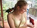 Woman feeding lorikeets at Jurong BirdPark-28Aug2006.jpg
