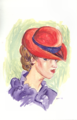 Woman in Red Hat and Purple Dress I.png