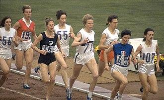 Athletics at the 1964 Summer Olympics – Women's 800 metres - Final. Left-right: Anne Smith, Laine Erik, Marise Chamberlain, Ann Packer, Antje Gleichfeld, Gerda Kraan, Maryvonne Dupureur, Zsuzsa Szabó