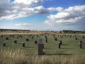 Timber circle - Reconstructed Woodhenge, facing northwards