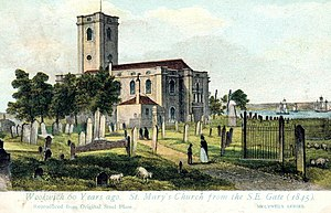 St Mary Magdalene Woolwich - The churchyard around 1840