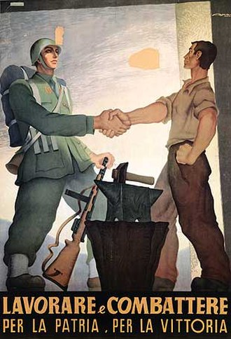Beretta Model 38 - Italian WWII propaganda poster showing a Beretta Model 38