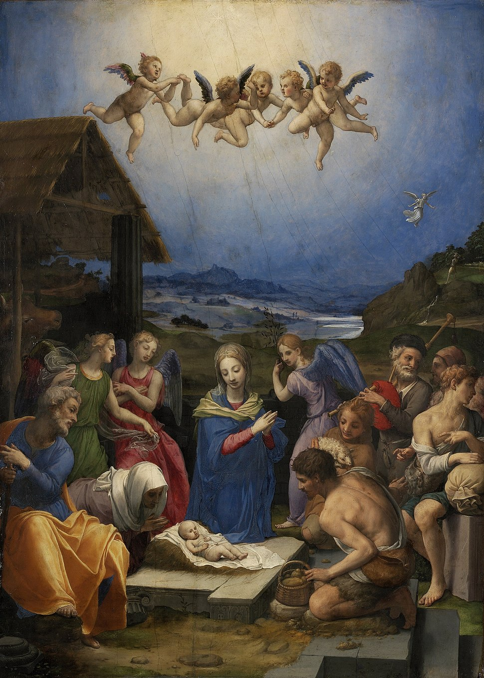 Worship of the shepherds by bronzino