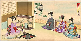 Japanese tea ceremony - Guests seated to receive tea (print by Yōshū Chikanobu)