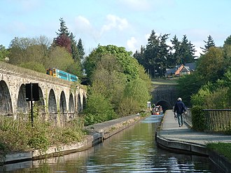 Chirk - Looking towards Chirk over the Aqueduct and Viaduct