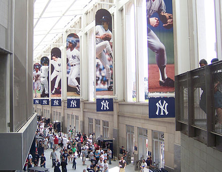 The Great Hall is situated along the southern front of the stadium Yankee-stadium-great-hall2.jpg