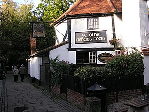 Ye Olde Fighting Cocks - Ye Olde Fighting Cocks - the view along the River Ver (2006)