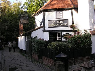 Pub - Ye Olde Fighting Cocks in St Albans, Hertfordshire, which holds the Guinness World Record for the oldest pub in England
