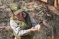Yellowstone Bird Program (28) Wildlife Biologist Lauren Walker releasing the spotted towhee (48804546887).jpg