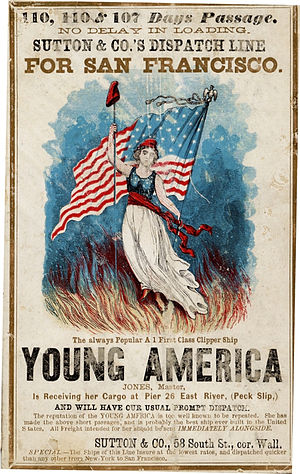 Young America movement - Advertisement for the clipper ship Young America