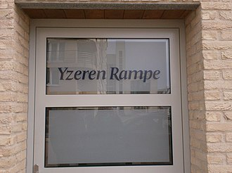 "West Flemish - Apartment building in Blankenberge (Belgium) with West Flemish name ""Yzeren Rampe"" (Iron embankment)"