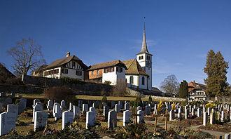 Zimmerwald - church of Zimmerwald with adjoining municipal cemetery