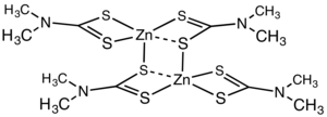 Dithiocarbamate - Structure of the dimethyldithiocarbamate of zinc.