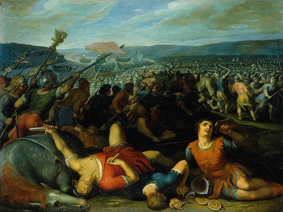 """Batavians defeating Romans on the Rhine"" by Otto van Veen"