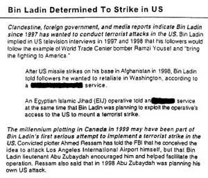 "National Security Archive - The declassified August 6, 2001, President's Daily Brief warning ""Bin Ladin Determined to Strike in US."""