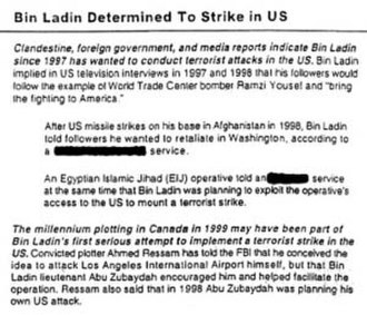 "National Security Archive - The declassified August 6, 2001, President's Daily Brief warning ""Bin Laden Determined to Strike in US."""
