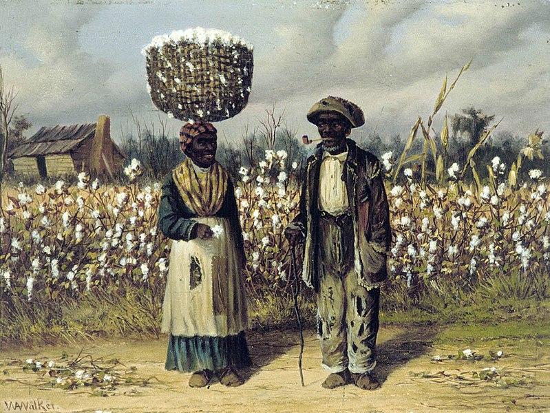 """Arquivo: 'Colheitadeiras de Algodão """", pintura a óleo sobre painel por William Aiken Walker.jpg"""