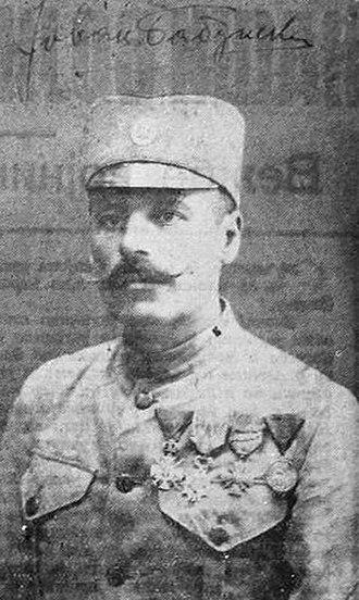 Jovan Babunski - Babunski in a Serbian Army uniform with Order of Karageorge's Star, Legion of Honour, Croix de guerre and Medal for Bravery during World War I