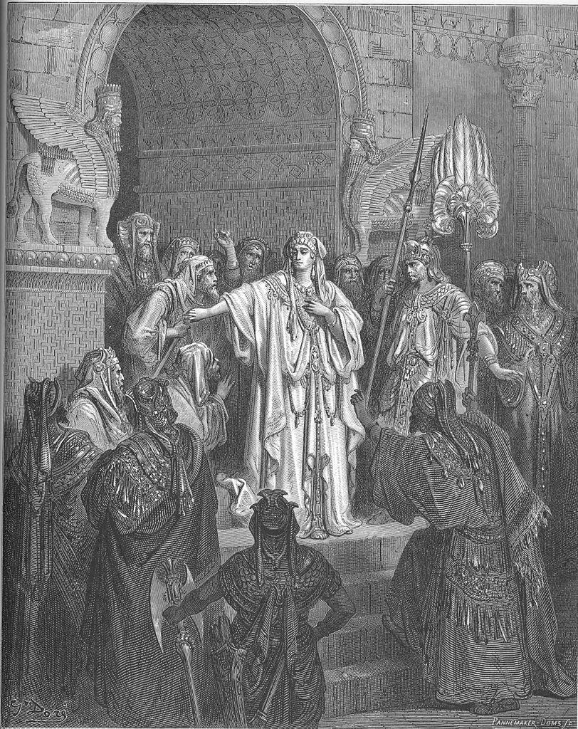 아하수에로 왕의 명령을 불순종하는 왕비 (귀스타브 도레, Gustave Dore, 1865년)