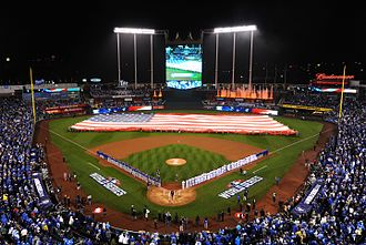2015 World Series - More than 100 service members from Whiteman Air Force Base participated in the flag ceremony that took place before the game