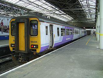 Southport railway station - A Northern-liveried Class 156 stands in Platform 5.