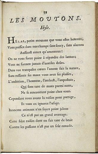 """Antoinette du Ligier de la Garde Deshoulières - """"Les Moutons"""" from Deshoulières' Poësies, printed in 1688."""