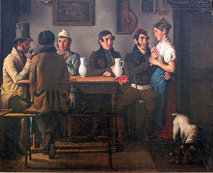 At the Tavern, by Johann Michael Neder, 1833, Germanisches Nationalmuseum 1833 Neder Im Gasthof anagoria.JPG