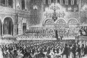 Franz Liszt's fundraising concert for the flood victims of Pest, where he was the conductor of the orchestra, Vigadó Concert Hall, Pest, Hungary 1839 (Source: Wikimedia)