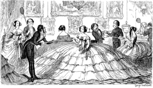 """A Splendid Spread"", early satire on the crinoline from The Comic Almanack for 1850."