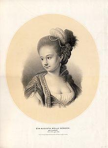 """Augusta """"Molly"""" Leonhard (1760–1786); getönte Lithographie von Payne, um 1850 (Quelle: Wikimedia)"""
