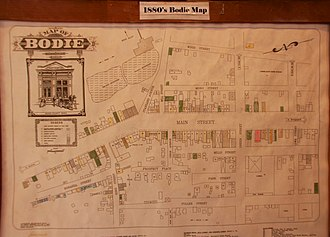Bodie, California - Map of Bodie, as of 1880