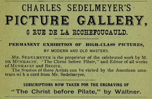 Charles Sedelmeyer - Advertisement for Sedelmeyer's Picture Gallery, Paris, 1882