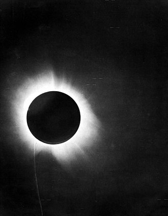 "History of general relativity - Eddington's photograph of a solar eclipse, which confirmed Einstein's theory that light ""bends""."
