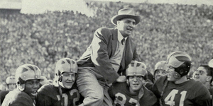 1953 Michigan Wolverines football team - Oosterbaan lifted to players' shoulders after 20-0 win over Ohio State