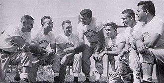 Bo Schembechler - Schembechler (far left) as a member of Ara Parseghian's coaching staff at Northwestern in 1956