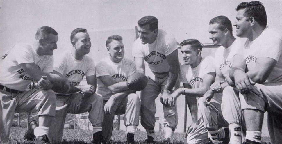 1956 Northwestern Wildcats football coaching staff (Parseghian, Schembechler, Agase)