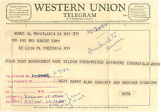 Western Union - Example of a Western Union Telegram, 1959. Note that the message text is a continuous strip of paper which was cut and glued to the telegram form.