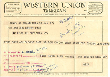 Example of a Western Union Telegram, 1959. Note that the message text is a continuous strip of paper which was cut and glued to the telegram form. 1959 Western Union Telegram.jpg