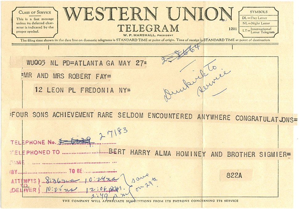 1959 Western Union Telegram