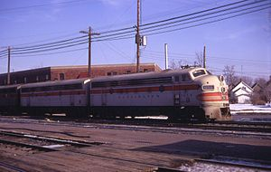EMD F7 - Chicago, Burlington and Quincy Railroad F7 A and B-units in Galesburg, Illinois in 1968.