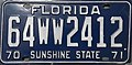 1970 Florida license plate 64WW2412.jpg