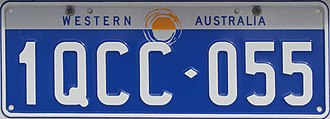Vehicle registration plates of Western Australia - Image: 1997 Western Australia government registration plate 1QCC♦055