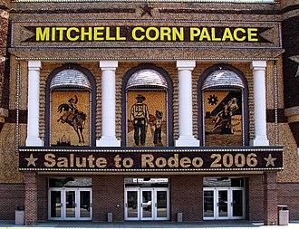 Crop art - The Corn Palace (detail of panel), Mitchell, South Dakota